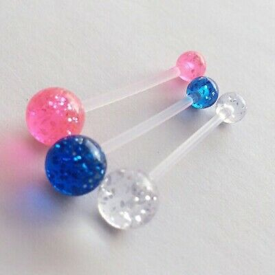 Set of 3 Pregnancy Maternity Glitter belly bars PTFE Pink Clear Purple cheapest