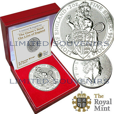 2016 The Queen's Beasts 2oz 99.9% Pure Silver Coin Lion of England Box COA UNC