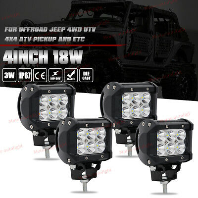 4x 4 Inch 18W CREE LED Work Light Bar Spot Lamp Offroad POD Fog ATV SUV 4WD UTE