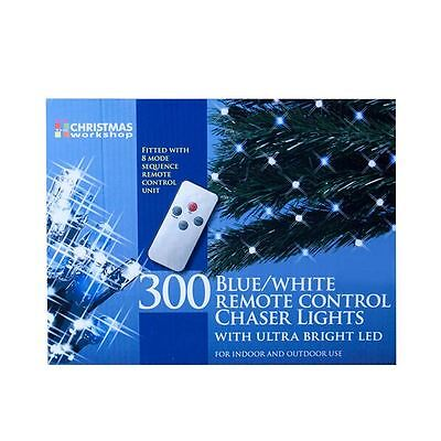 New The Christmas Workshop 300 LED Chaser Lights Remote Control Blue & White