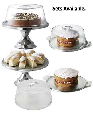 Stainless Steel 30cm Cake Stand Plate With Domed Cake Cover 1 Tier Cake Stand