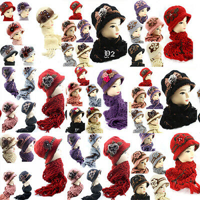 Job Lots 12PCS Crochet Hat and Scarf Set Hand Knitted 1920's Style Warmth