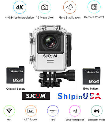 SJCAM M20 4K 16MP Sports Action Cam Gyro Stabilization, extra Battery, M20-WHT