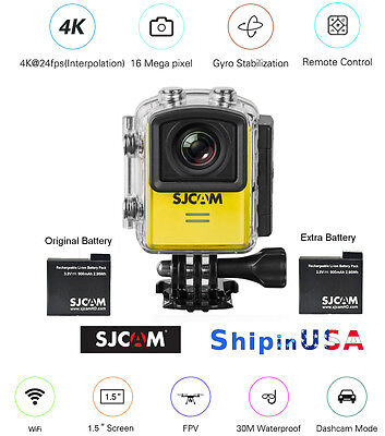 SJCAM M20 4K 16MP Sports Action Cam Gyro Stabilization, extra Battery, M20-YEL