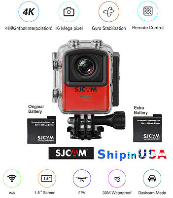 SJCAM M20 4K 16MP Sports Action Cam Gyro Stabilization, extra Battery, M20-RED