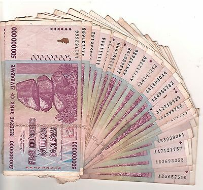 100 X Zimbabwe 500 Million Dollars AA/AB 2008, 50&100 Trillion Series,Circulated