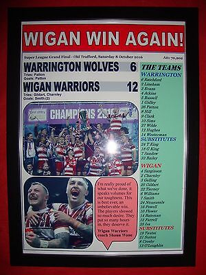 Wigan Warriors 12 Warrington Wolves 6 - 2016 Grand Final - framed print