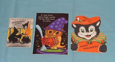 vintage HALLOWEEN GREETING CARDS & INVITATION LOT of 3 Hallmark Norcross