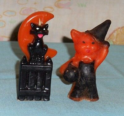 vintage Halloween GURLEY CANDLE LOT OF 2 cat/fence/orange moon & cat in costume