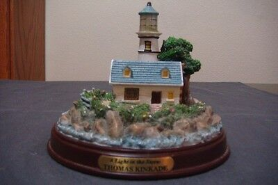 """A Light in the Storm"" Thomas Kinkade Seaside Memories Lighted Lighthouse"
