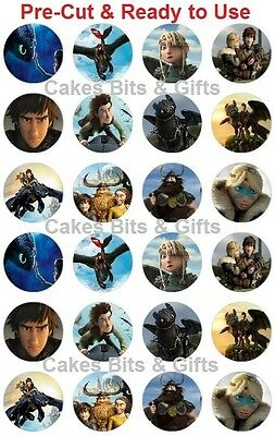 24X HOW TO TRAIN YOUR DRAGON Edible Wafer Cupcake Toppers Pre Cut Ready to Use