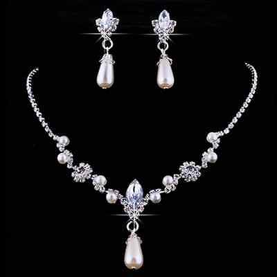 Hot Prom Wedding Bridal Party Crystal Rhinestone Necklace Earring Jewelry Set