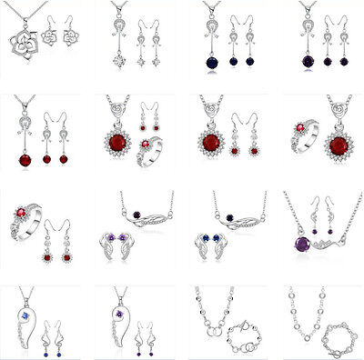 Girls 925 STERLING SILVER wedding party Fine Jewelry Set Necklace earrings ring
