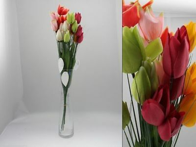 48 x Tulip bunch 4 head 67cm Artificial Flowers 4 asst Bulk Wholesale Lot