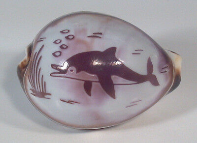 """3"""" Carved Cowrie Shell Seashell Dolphin Ocean Scene Philippines"""