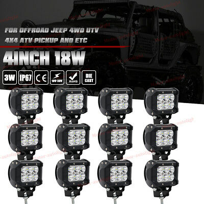 12x 4inch 18W Spot Cree LED Work Light Bar OFFROAD 4WD TRACTOR ATV Jeep 4x4 UTE