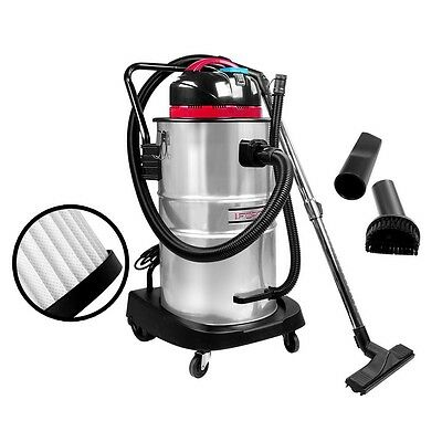 NEW 60L Bagless Vacuum Cleaner Industrial Commercial Dry Wet Wheel 1400W Clean