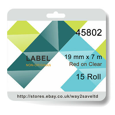 15x Compatible Dymo D1 45802 For Standard Labelling Tape Red on Clear 19mm x 7m