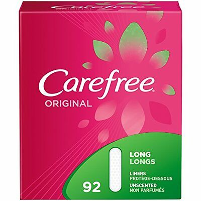 Carefree Original Ultra-Thin Panty Liners Long Unscented 92 Count Soft New