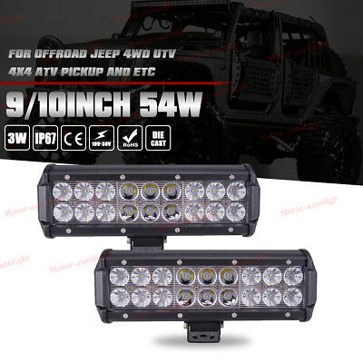 10Inch 4D 54W Spot Flood LED Work Light Bar For OffRoad Jeep UTE TRAILER TRUCK