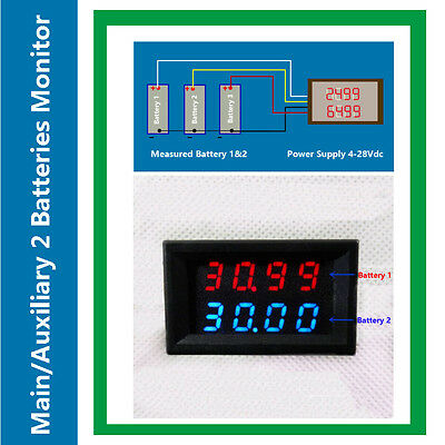 Dual Voltmeter Main/Secondary 2 Battery Tester Display Dual Voltage 200V RV Auto