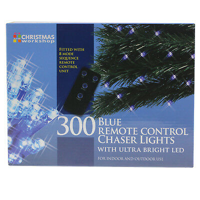 300 Blue Remote Control Chaser Ultra Bright LED Christmas String Lights Decor