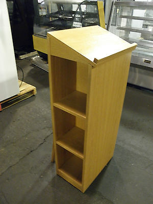 Lot Of 10 New In Box Hostess Greeting Stand Podium Oak Finish With Menu Holder
