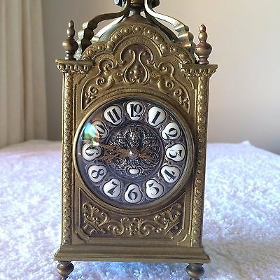 Antique French Brass Clock, 19th Century, Devil Centre Skull Numerals Gothic
