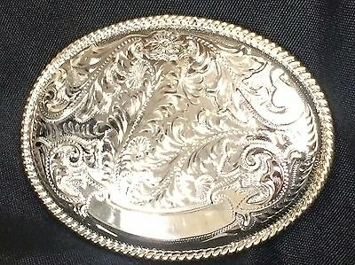 Alpaca Mexico German Silver Ornate Large Oval Belt Buckle NOT ENGRAVED