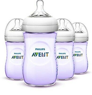 Philips Avent Natural Baby Bottles, Purple, 266ml, (4 Pack)