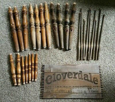 27 Vintage Bed Wood Spindle Pieces from Old Chairs + Old Cloverdale Soda Sign