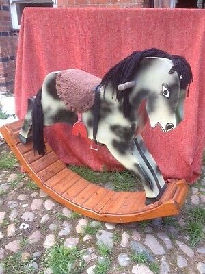 Rare Handmade Pretty Vintage Style Large Heavy Pine Wood Rocking Horse