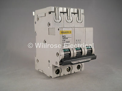 Square D MCB 16 Amp Triple Pole 3 Phase Breaker Type C 16A Loadcentre KQ10C316