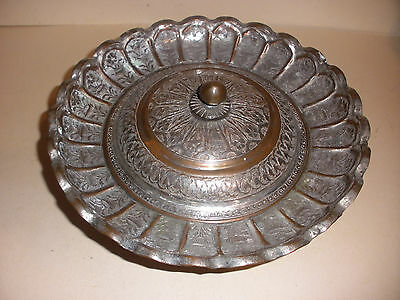 "Apprx 10"" Nice Vintage Antique Persian Covered Bowl Dish With Lid Decorated"
