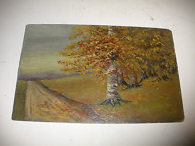 Vintage antique 19/20th oil painting landscape country road mystery artist ..