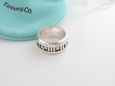 Tiffany & Co RARE Silver Atlas Roman Numeral Ring Sz 5!