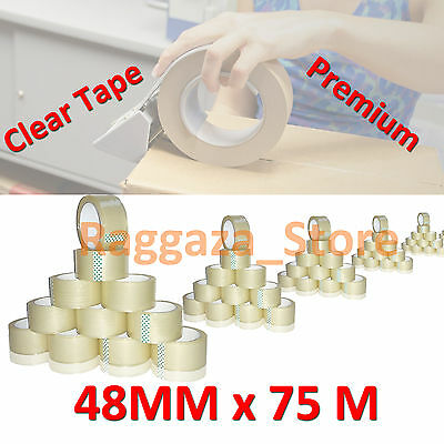 48mm X 75M Packing Tape Packaging Sticky Sealing Shipping Box 6 30 60 90 108 Pcs