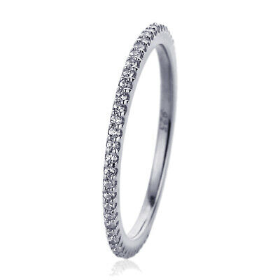 1.5mm Rhodium Plated Sterling Silver CZ Pave Setting Eternity Band Ring