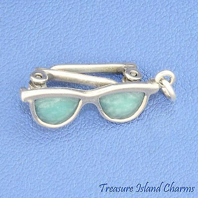 Blue Enamel Sunglasses Movable 3D .925 Solid Sterling Silver Charm Beach Sun