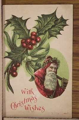 "ANTIQUE 1910's CHRISTMAS POSTCARD ""Classic St. Nick & Bundle of Holly"" Unposted"
