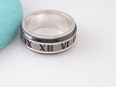 Tiffany NEW RARE Silver Titanium Atlas Midnight Roman Numeral Ring Size 5 $490!