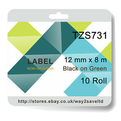10 Compatible with Brother TZ731 Laminate Strong Adhesive Label Tape Black/Green