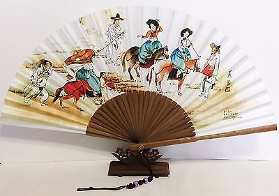 """Korean Art Hand fan """" Spring Picnic """" Traditional Collapsible 53cm 11.6"""""""