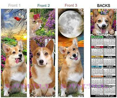 3 set-WELSH CORGIS 2017 Calendar BOOKMARK Pembroke DOG ART Book Card Figurine