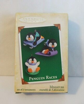 Hallmark Miniature Ornament 2005 Penguin Races Set of 3 (M3)