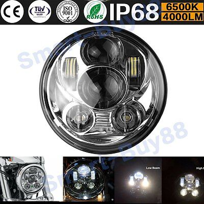 "5.75"" Motorcycle Projector Daymaker HID 45W LED Light Bulb Headlight for Harley"
