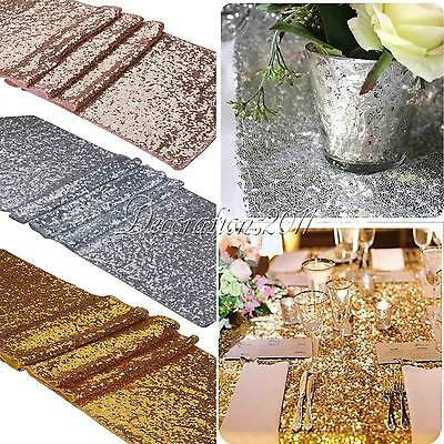 "12"" x 108"" Glamorous Sparkly Bling Sequin Table Runner for Wedding Party Decor"