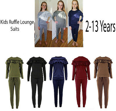 Girls Kids Frill Ruffle Detail Top Bottom Loungewear Co Ord Set Tracksuit 2-13 Y