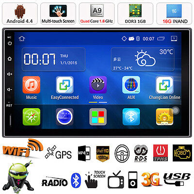 "7"" Quad Core Android 4.4 GPS Navi Car Stereo Mp5 Player FM Radio Bluetooth WIFI"