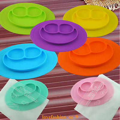2016 One-Piece Silicone Placemat+Plate Dish Food Table Mat for Baby Toddler Kids